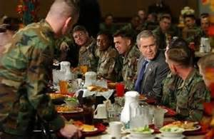 Bush Dining with Soldiers