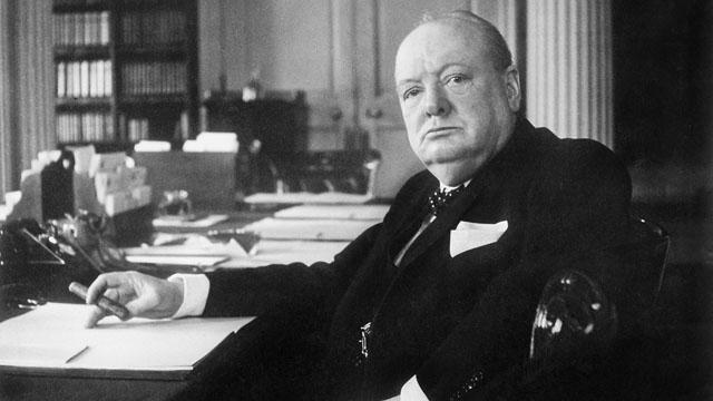Churchill at desk